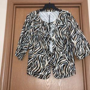 Wide sleeve animal print blazer